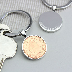 Personalised 18th Or 21st Birthday One Pence Keyring