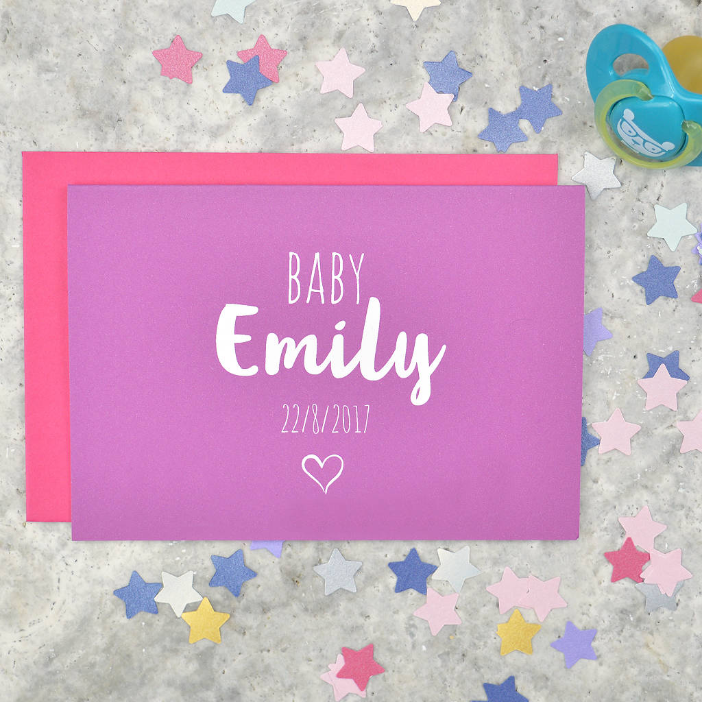 Personalised Baby Girl Card