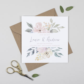 Floral Blush Wedding Save The Date Card
