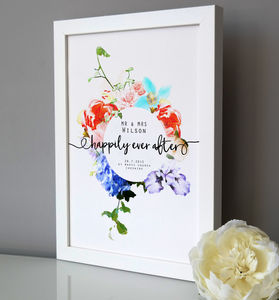 Personalised Happily Ever After Wedding Print - 2nd anniversary: cotton