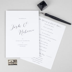 Elegant Calligraphy Wedding Order Of The Day Card