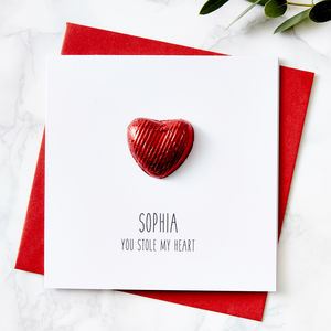 Chocolate Heart Personalised Valentines Card