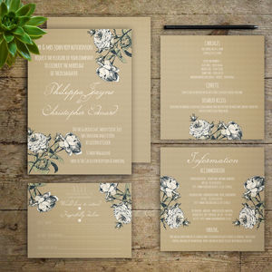 Willow Flowers Wedding Invitations
