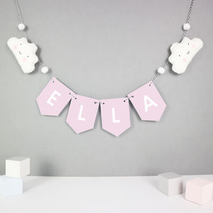 Personalised Cloud Bunting With Mini Pom Poms - baby's room