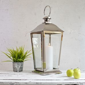 Silver Stainless Steel Candle Lantern - lighting