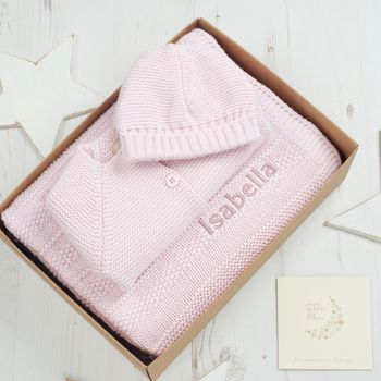Baby Girls Pink Bubble Knitted Gift Box