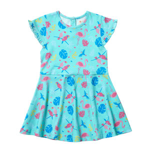 Girls Blue Short Sleeved Tropical Summer Skater Dress