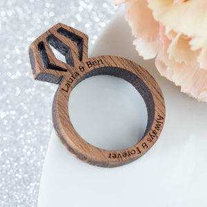 Personalised Wood Proposal Engagement Ring