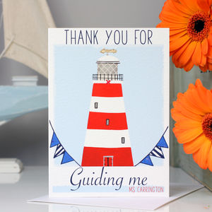 Personalised Lighthouse Teacher Card