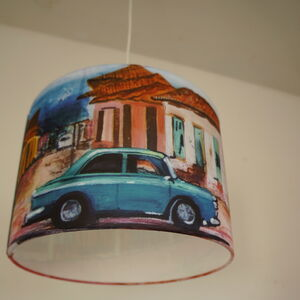 Cuban Car Painting Drum Lampshade