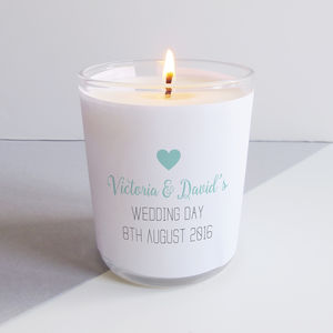 Personalised Wedding Candle - table decorations
