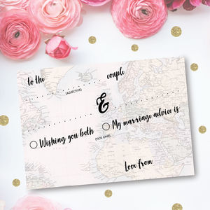 Pack Of 25 Travel Wedding Advice Cards - advice cards & table games