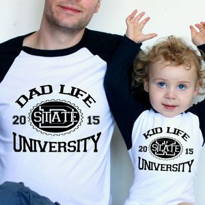 Dad Life/ Kid Life University Fathers Day T Shirt Set