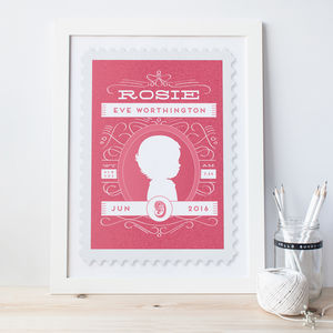 Personalised New Baby Stamp Print