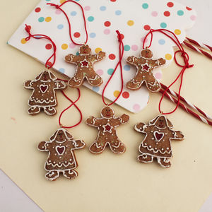 Box Of Six Assorted Gingerbread Decorations