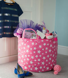 Pink, Red And Blue Star Design Toy Storage Baskets - storage baskets