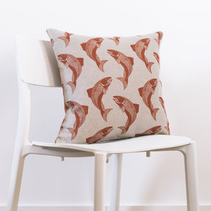 Swimming Salmon Cushion With Tweed Back - bedroom