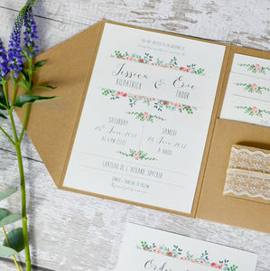 Floral And Kraft Pocketfold Wedding Invitation Suite - wedding stationery