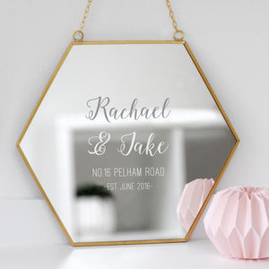Personalised New Home Hexagon Mirror - bedroom