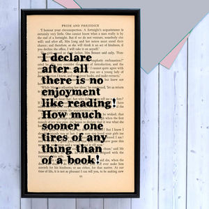 Pride And Prejudice 'No Enjoyment Like Reading' Print - book-lover