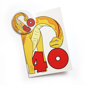 Number 40 Dinosaur Card And Badge Set