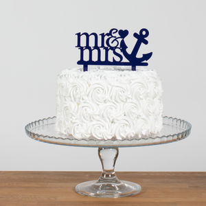 Mr And Mrs Sailor Anchor Cake Topper - new in wedding styling