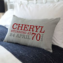Personalised 70th Birthday Rectangular Cushion