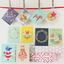 Mini Greetings Card Pack Of 10 Folky
