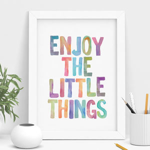 'Enjoy The Little Things' Watercolour Print - shop by subject