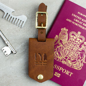 Leather Luggage Tag With Personalised Insert - 30th birthday gifts