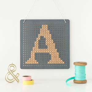 Grey Cross Stitch Pegboard - new in prints & art