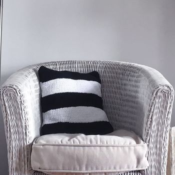 Handmade Knitted Stripe Cotton Square Cushion