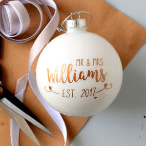 Personalised Copper Wedding Bauble Decoration - winter sale
