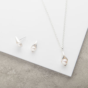 Calla Lily Pearl Pendant And Studs Set - necklaces & pendants