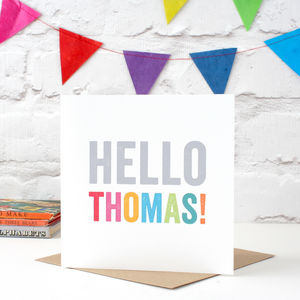 Personalised 'Hello' New Baby Card - new baby cards