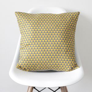 Geometric Yellow And Grey Triangles Cushion Cover