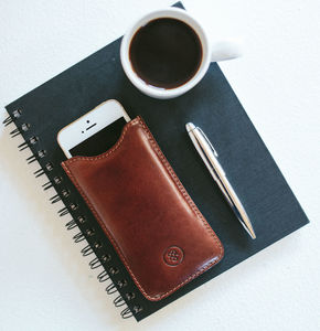 Luxury Leather iPhone Seven Sleeve. 'The Gruppo' - phone covers & cases
