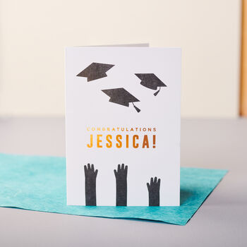 Personalised Copper Foiled Graduation Card