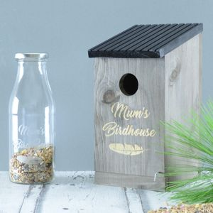 Personalised Bird House And Seed Bottle - mum loves gardening