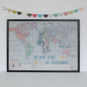 'I'm Not Lost..' Embroidered Map Notice Board - noticeboards