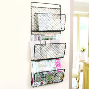 Contemporary Metal Black Three Shelf Magazine Rack