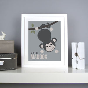 Personalised Monkey Nursery Print