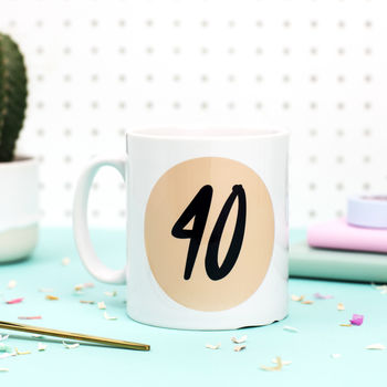 40th Birthday Gift '40' Age Mug