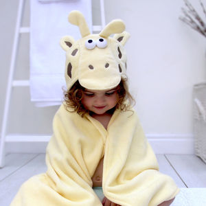 Personalised Giraffe Children's Hooded Towel