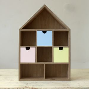 Wooden House Shelf With Drawers - baby's room
