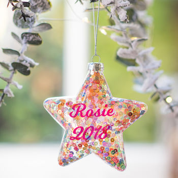 Personalised Sequinned Star Bauble
