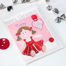 Personalised Rag Doll Girl Christmas Card