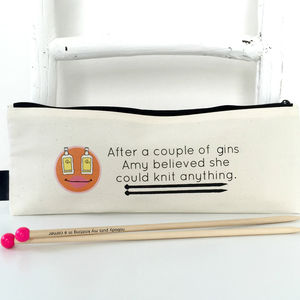'Gin And Knitting' Personalised Knitting Needle Bag - sewing boxes