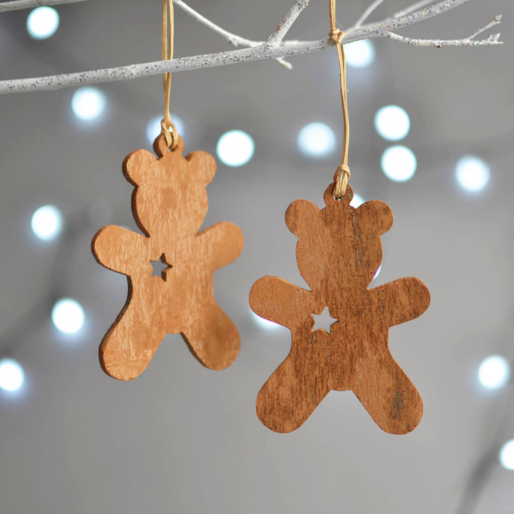 Wooden Cinnamon Teddy Bear Christmas Decoration