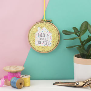 There Is No Place Like Home Glitter Hoop